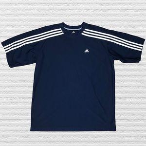 Adidas Climate Vintage Navy Three Stripe Shirt